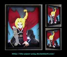 11 x 14 Fullmetal Alchemist Edward Elric Shadowbox by The-Paper-Pony