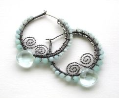 green quartz amazonite earring by annie-jewelry