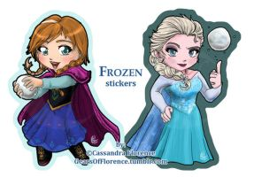 Frozen Stickers (Anna and Elsa) by GearsOfFlorence