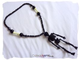 Black Glitter Skeleton Necklace by Cateaclysmic