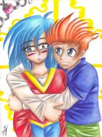 KM-Mikey hugs Mitsuki by crazyeverythangchick