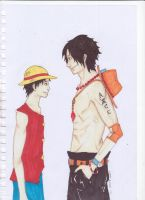 Ace and Luffy by SaaraZ