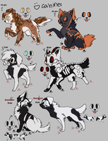 Canine Adoptables (Lineart by zcherozrodesidz) by DindellaTheDefender