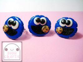 Cookie Monster Adjustable Rings by efeeha