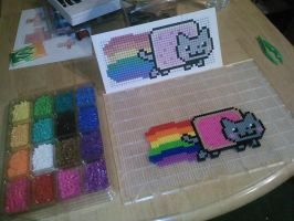 Nyan Cat in Perler Beads by dylrocks95