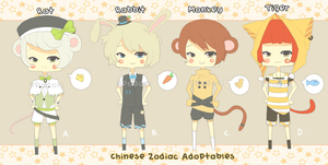 Kemonomimi Zodiac Adoptables -- CLOSED! by ppodori