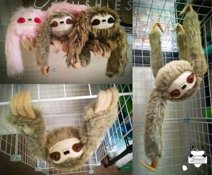 A trio of hanging sloths for AWA 2014!! by JanellesPlushies
