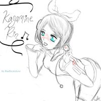 Kagamine Rin Sketch by BlueElectricLove