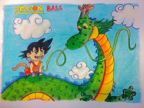 Kid Goku and Shenron by junkmermaid