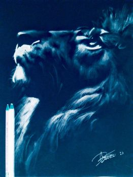 Negative Lion Drawing  by Kaneburgness