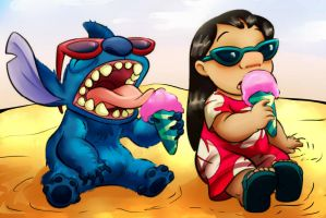Lilo and Stitch [Coloring Page Contest] by XLEHX