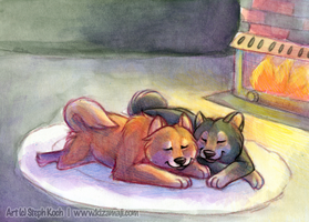 Cuddling by the Fire by shikokumaji
