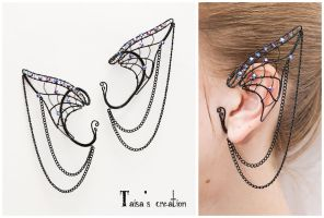 Dark Elfin Ear Cuffs by Taisa-Winged