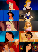 Disney Princesses and their angry by Midnightrosesblood
