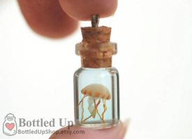 Tiny Jellyfish Bottle Charm by jen4eternity