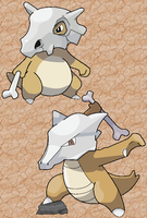 Cubone + Marowak by Sophonax-Skitty