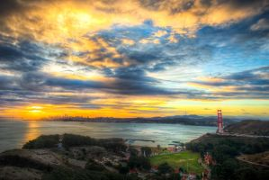 San Francisco, sunrise over the Bay by alierturk