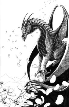 Dragon in Cherry Blossoms - ink on bristol by indigowarrior