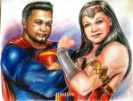 Superman and Wonder Woman by shaunriaz