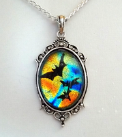Colorful Bats Glass Pendant by HoneyCatJewelry