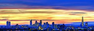 Panoramic View - Sun Rise over London Skyline by dynamick