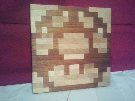 8 bit mushroom cutting board by Lersso