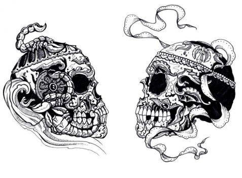 Skull Illustration and possible tattoo design by LarcDEAR