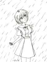 Retro Art: Raining on Rei by rioka
