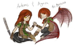 Artemis and Ayara by Xilent-Knights