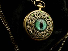 Regal Pocket Watch - Dragon Eye Green Purple Hints by LadyPirotessa