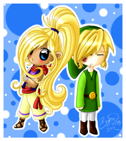 Chibi Link and Tetra by brigette