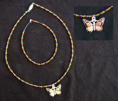 Butterfly Rainbow Necklace by LuthienNightwolf
