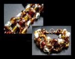 Crystal and Amber Glass Beaded Bracelet by MoonlightMysteria