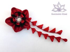 Red and Black Ume Kanzashi by Kanzashi-Hime