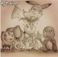 Kanto Starters with Pikachu by mypokeart
