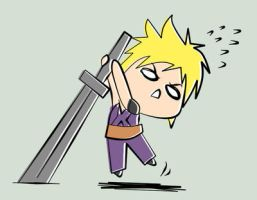 Cloud Strife Obsessed Chibi by hatirrisworldproject