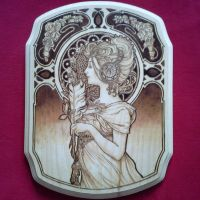 Alphonse Mucha Inspired Wood burning by TriforceCreations