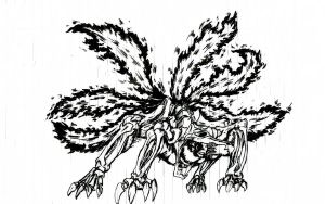 six tailed Kyuubi form lineart by akshaynba