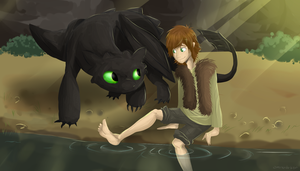 Toothless and Hiccup by miranda-ketu