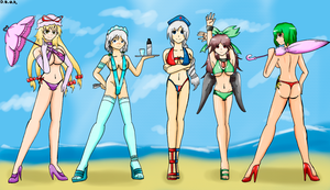 Gift: Beauties in the beach by DinoBirdOfDoom
