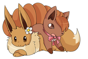 :commission: Eevee and Vulpix by kairitheevee