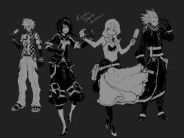 KH - Older Roxas, Xion, Namine and Axel by Rousteinire