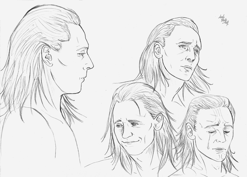 Loki expressions (sketch) by LadyMintLeaf