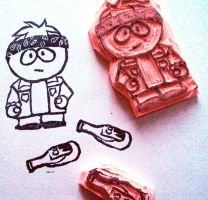 Butters as a biker rubber stamp carving by nezumish