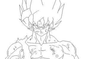 SSJ Goku Lineart by DranzertheEternal