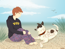 A Girl And Her Dog by zigan-with-felines