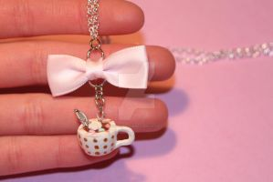 Realistic Polymer Clay Mug of Hot Cocoa Necklace by ClayConfectionary