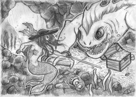 Mermaid sword fighting in a treasure filled cave by zokwani