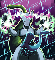 Shiny Mew and Mewtwo by Phatmon