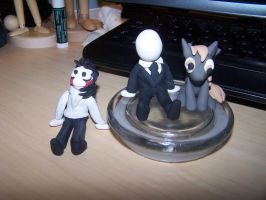Jeff, Slendy, and Derpy sculptures by GingaAkam